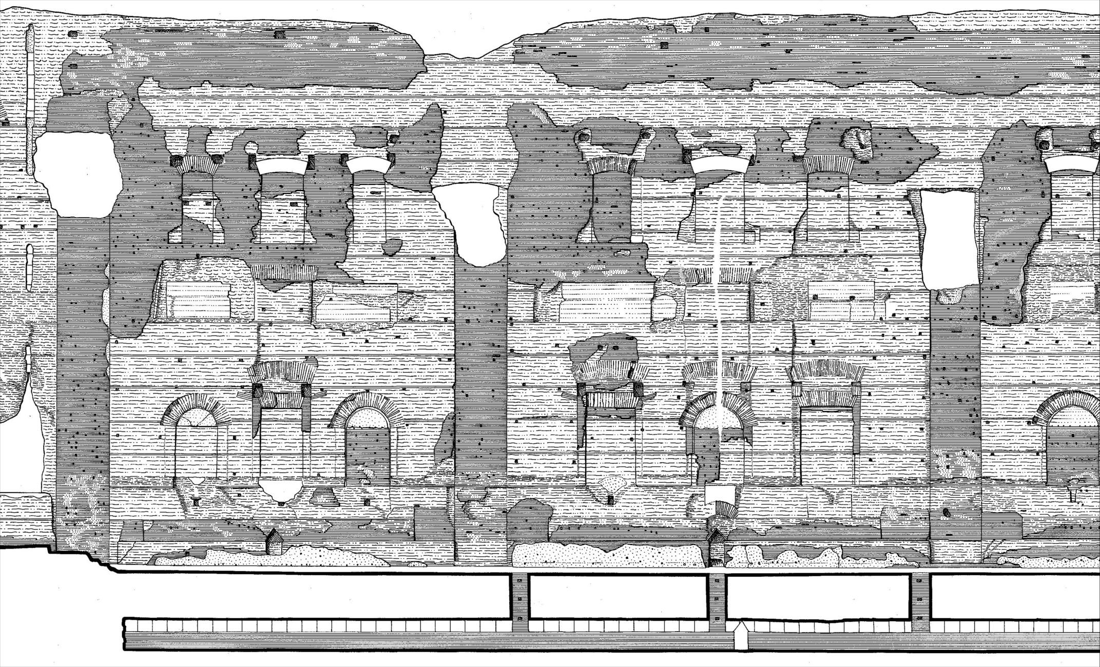 Terme di Caracalla sezione prospetto 1:200 – dettaglio