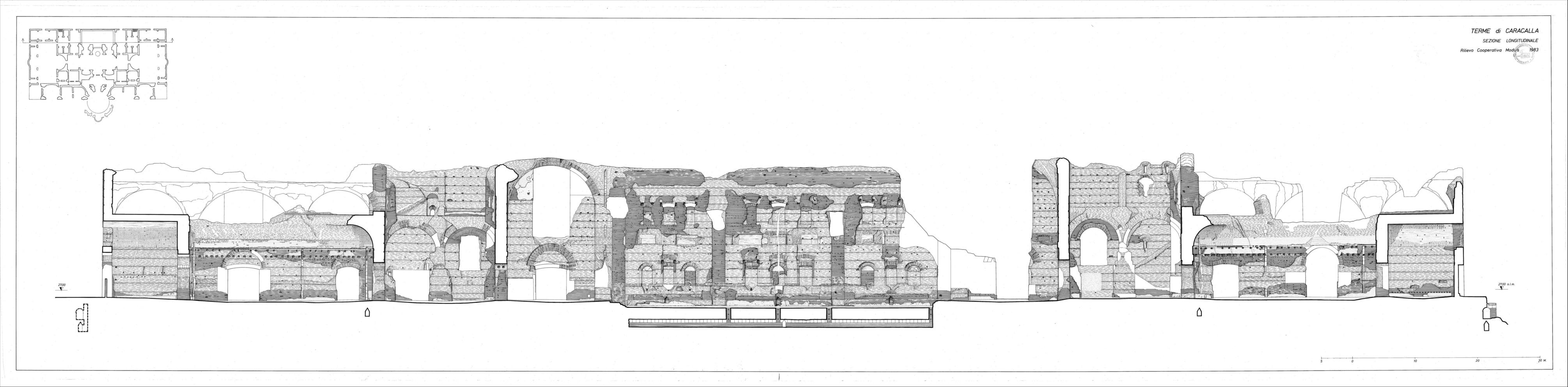 Terme di Caracalla sezione prospetto 1:200